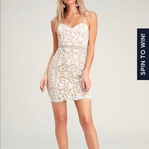Lulus Giovanni White Lace Sleeveless Sheath Dress